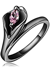 Ladies Lily Flowers With Pink Crystal Rings,Gold-Plated Gun Stainless Steel Women Promise Rings