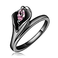 buy Ladies Lily Flowers With Pink Crystal Rings,Gold-Plated Gun Stainless Steel Women Promise Rings