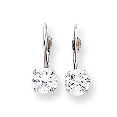 White Round Shape Cubic Zirconia Earrings In 14Kt White Gold - Lever Back