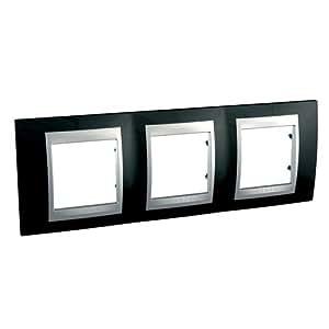 Schneider Electric SC5MGU66006093 Plaque 3 postes horizontal Noir laqué Alu UNICA Top