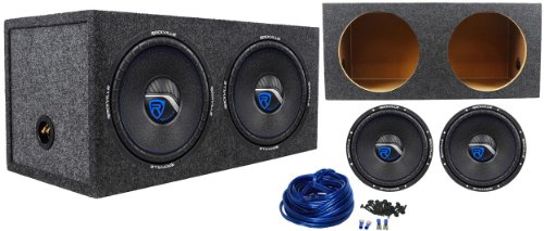 "Package: (2) Rockville W12K6-D2 12"" 1600 Watts Peak/800 Watts Rms Cea-2031 Compliant Dvc 2-Ohm Car Subwoofers + Rockville Rd12 Dual 12"" 1.25 Cu.Ft. Sealed Subwoofer Enclosure + Dual Enclosure Wiring Kit With 14 Gauge Speaker Wire + Screws + Spade Terminal"