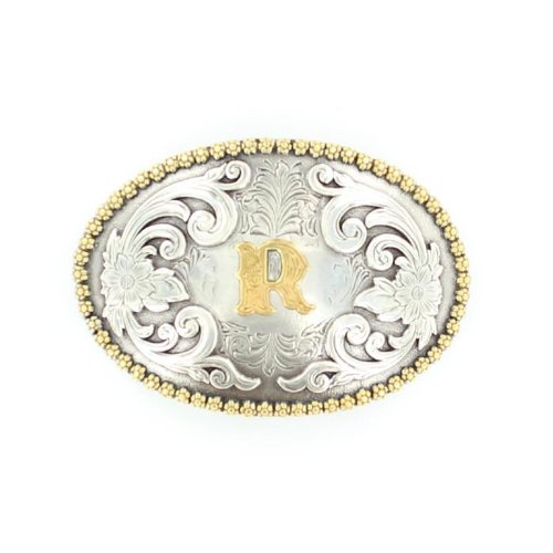 Nocona 37072 Initial Oval Berry Concho Buckle Silver/Gold R One Size