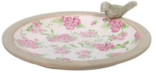 Esschert Design USA Aged Ceramic Bird Bath Rose