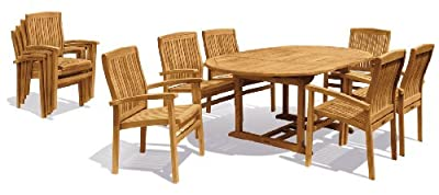 Teak Garden Dining Set with Extending Oval Table & 6 Stacking Chairs - Jati Brand, Quality & Value