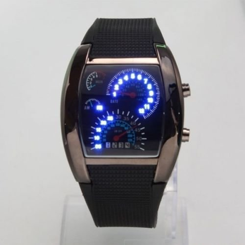 New Blue Led Light Steel Case Aviation Speedometer Analog Wrist Watch Black