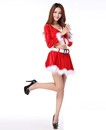Fllt Women's Sexy Naughty Sweet Santa Dress Lingerie Christmas Outfit Costumes