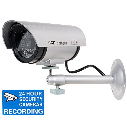 WALI Bullet Dummy Fake Surveillance Security CCTV Dome Camera Indoor Outdoor with Record LED Light + Warning Security Alert Sticker Decals WL-TC-S1 (Fake Packages compare prices)