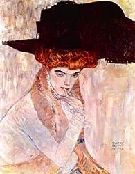 12X16 inch Gustav Klimt Abstract Canvas Art Repro The black hat