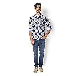 STRAK Mens' Pure Cotton Blue & White Blocks Designer Apple Cut Style Shirt With Full Sleeve Size:-XL/44