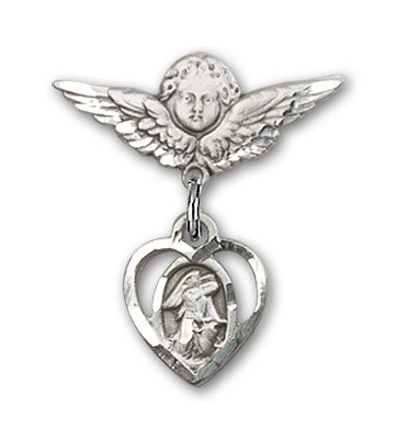 Sterling Silver Baby Badge with Guardian Angel Charm and Angel w/Wings Badge Pin