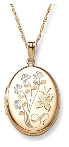 14k Yellow Gold Filled Engraved Oval Locket, 20""