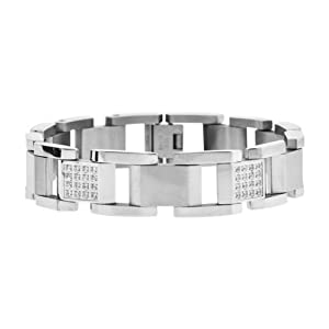 Inox Jewelry Polished and Matte Silver Steel Amercan Diamond Link Bracelet For Men available at Amazon for Rs.6440