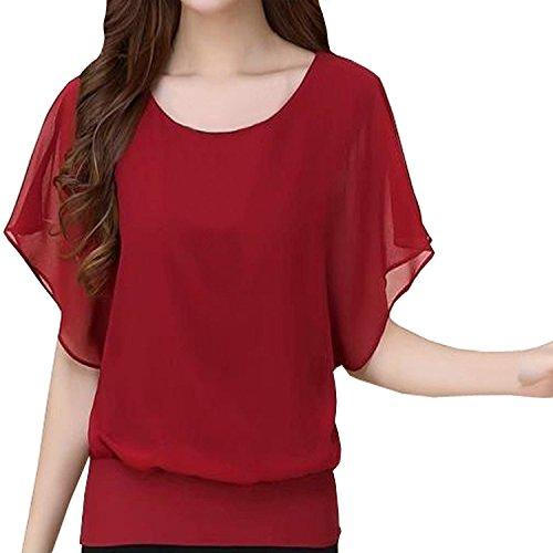 Minetom Donna Maglietta Camicetta Girocollo Manica Corta Casual Ufficio Blusa Shirt Tops Vino rosso IT 50