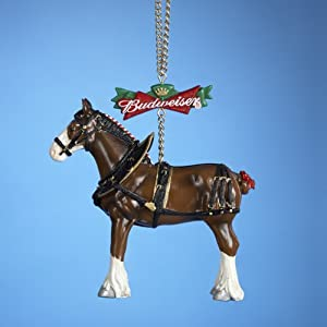 """4"""" Budweiser Beer Clydesdale Horse Christmas Ornament"""