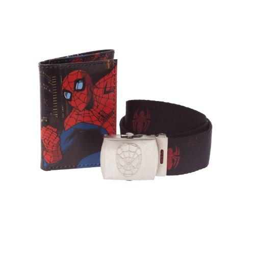 Marvel Ultimate Spiderman Trifold Wallet & Logo Buckle Printed Belt Gift Tin Set