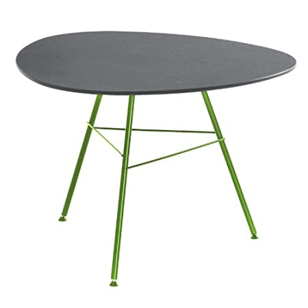 Leaf Coffee Table Triangular H50 grey/frame green matt/lacquered/Top MDF waterproof/H x Ø: 50 x 79cm