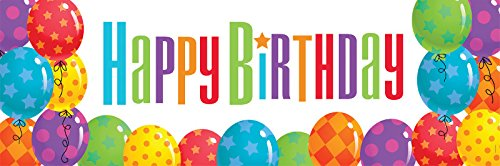 "Creative Converting Giant Happy Birthday Balloon Patterns Party Banner, 60 by 20"", Multicolor"