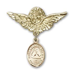 14K Gold Baby Badge with St. Katherine Drexel Charm and Angel with Wings Badge Pin