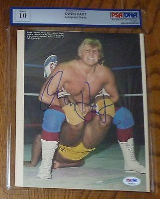 Owen Hart Signed 8x10 Magazine Photo Gem Mint 10 COA Autographed WWE WWF - PSA/DNA Certified - Autographed Wrestling Photos ryan fitzpatrick autographed hand signed buffalo bills 8x10 photo