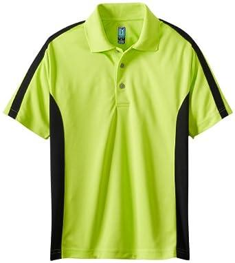 PGA TOUR Big Boys' Short Sleeve Color Block Sport Polo, Lime Punch, Small
