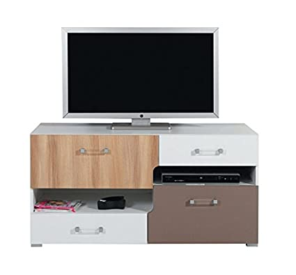 "Chambre d'adolescent - Meuble TV ""Lian"" 11, Brun claire / Blanc / Cappuccino - Dimensions: 125 x 62 x 50 cm (L x H x P)"