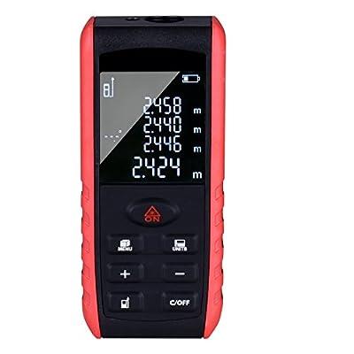 Goodes 60M/196Ft Distance Laser Measure Meter Handheld Digital Measuring Tape Laser Range Finder Tool With High Contrast VTN LCD Screen and 99 Memory Storage