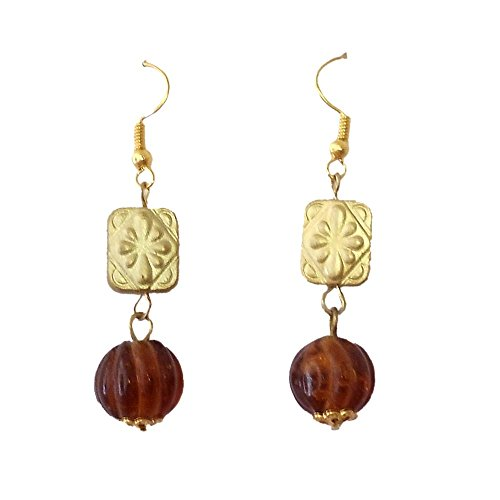 Beadworks Beadworks Glass Dangle & Drop Earings For Women - Brown(For Women) (Silver)
