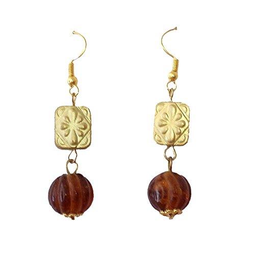 Beadworks Beadworks Glass Dangle & Drop Earings For Women - Brown(For Women) (Silver)