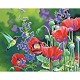 Bulk Buy: Dimensions (2-Pack) Paint Works Paint By Number Kit 14'X11' Hummingbird & Poppies 91443