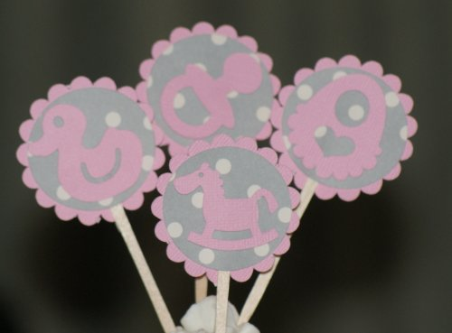 All About Details Bubblegum Pink-Gray Dots Cupcake Toppers, Set Of 12 front-28046