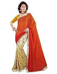 Surat Tex Orange Chiffon Wear Beautiful Sarees With Unstitched Blouse