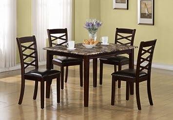 Monarch Dark Cherry Marble Veneer 5 Piece Dining Set