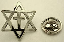 Messianic Star of David Jews for Jesus Christians for Isreal Cross Lapel Pin