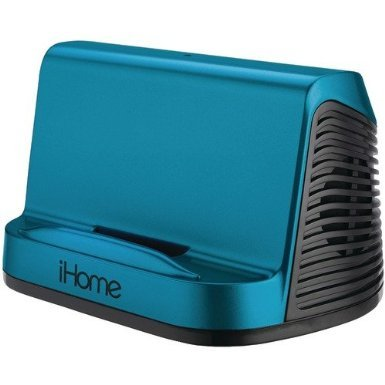Ihome Portable Stereo Speaker System For Ipad, Ipod And Mp3 Player, Features A 3.5 Mm Line-In, And Rubberized Non-Skid Surface, Blue Finish