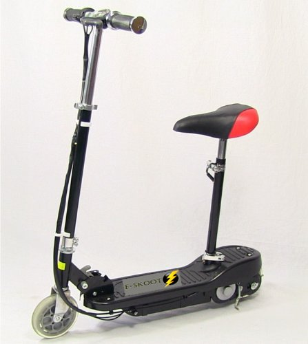 KIDS BLACK ELECTRIC SCOOTER ESCOOTER 120W RIDE ON BATTERY TOY ADJUSTABLE REMOVABLE SEAT