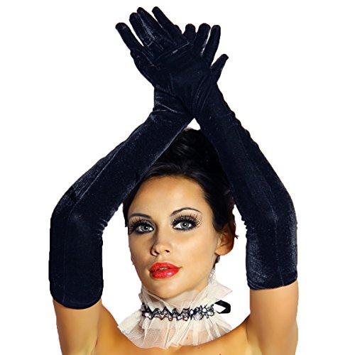 Amynetti Elegante Lange Damen Handschuhe aus Samt schwarz