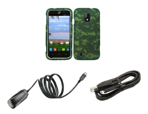 Zte Majesty Z796C - Premium Bundle Pack - Army Green Camo Design Shield Case + Atom Led Keychain Light + Micro Usb Cable + Wall Charger