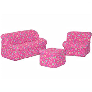 Childrens 3piece Sofa Set Mini Mushroom Pink Flower from American Furniture Alliance