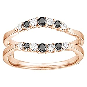 0.35CT Black and White Diamonds Curved Wedding Ring Guard Enhancer set in Rose Gold Plated Sterling Silver (0.35CT TWT Black And G-H I1-I2 Diamonds)