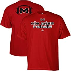 Buy adidas Mississippi Rebels Backfield T-Shirt - Cardinal Red by adidas