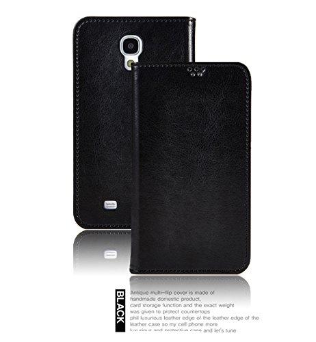 Flip Cover レザー ケースdocomo GALAXY S4 SC-04E/ギャラクシーs4 応対フリップ タイプ 手帳型 手帳 レザー ケース カバー カード入れ付きブラック