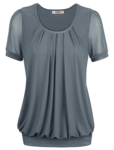 Short Sleeve Shirt for Womens,Timeson Womens Loose Fit Short Sleeve Boat Neck Pleated Front Blouses X-Large Grey