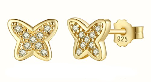 saysure-925-sterling-silver-gold-plated-butterfly-stud-earrings