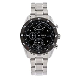 Seiko Men's SNDC47 Stainless Steel Chronograph Black Dial Watch