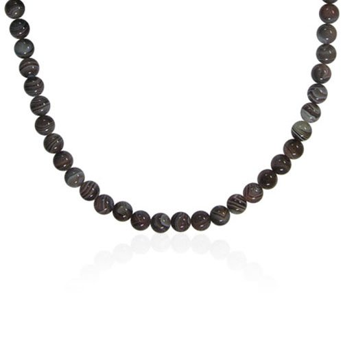 10mm Round Botswana Agate Bead Necklace, 60