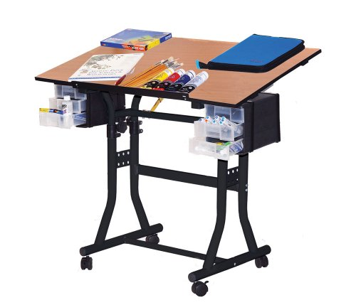 Martin Creation Station Art-Hobby 24-Inch by 40-Inch Surface Table, Black with Cherry Top