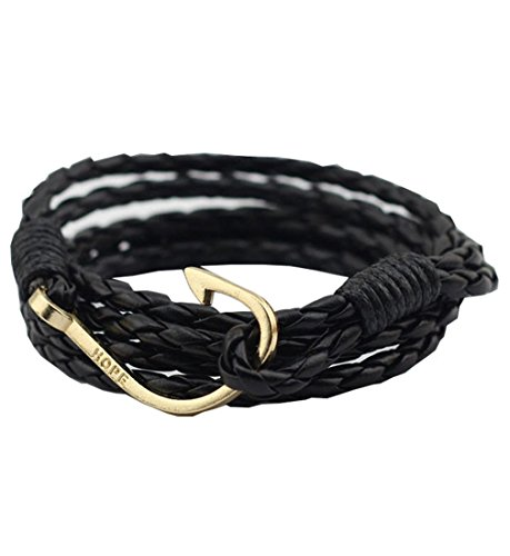 UNIONTOP Mens Womens PU Leather Bracelet Fishing Hook Hope Bracelet Personality Black (Woman Fishing compare prices)