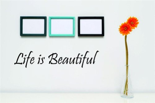 Design with Vinyl Design 156 Life Is Beautiful - Famous and Inspirational Quotes - Vinyl Wall Decal, 5-Inch By 20-Inch, Black