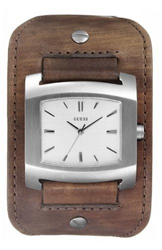 Guess 'Roadblock' Gents Brown Leather Cuff Watch With Silver Dial