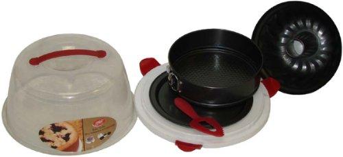 VMI C-01346 3-Piece Bakeware Set with Round Case, Multicolor
